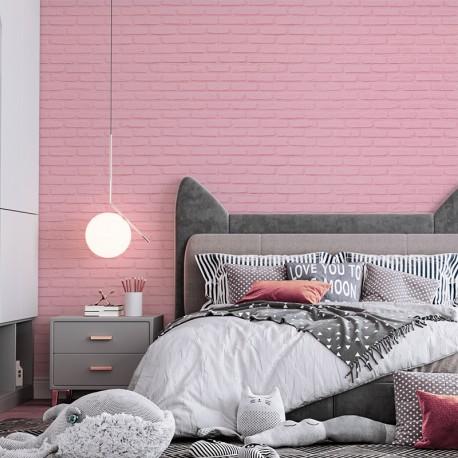 Fotomural a medida ladrillo rosa en pared de salón comedor