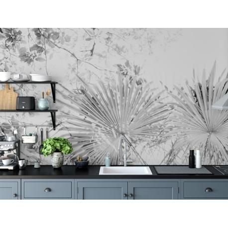 Cocina con papel pintado blanco y negro