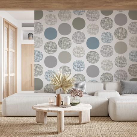 Fotomural círculos colores pastel en pared salón