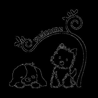 Vinilo perritos bienvenida