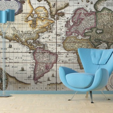 pegatina pared Fotomural Mapa Mundi II
