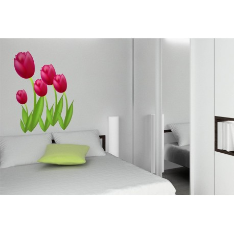 Tulipan Fucsia Pegatina decoración con vinilo