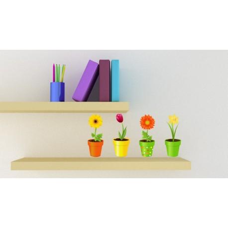 vinilos imagen producto Flores Macetas