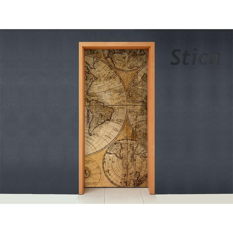Vinilo mapamundi para puerta - Vinilos puertas cocina ...