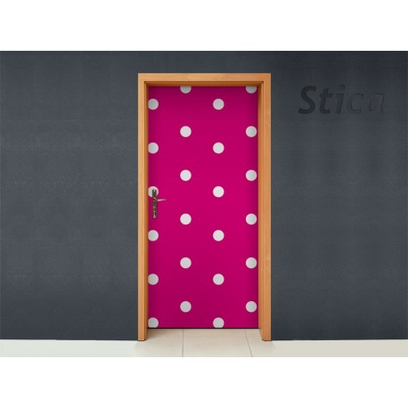 adhesivo decorativo Topos Rosas para Puerta PTA64