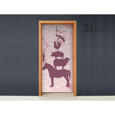 Puerta Animalitos decoración con vinilo