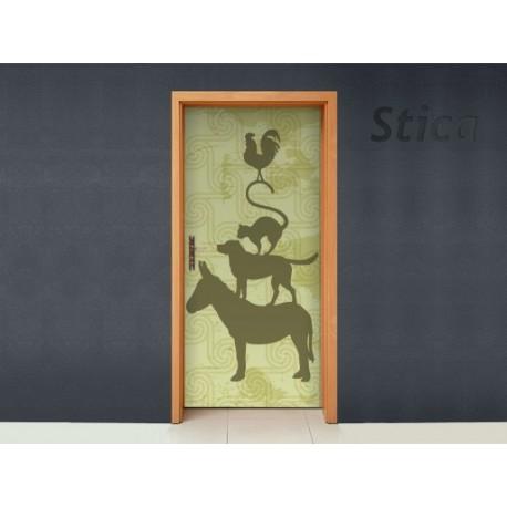 Puerta Animalitos Verde adhesivo decorativo ambiente