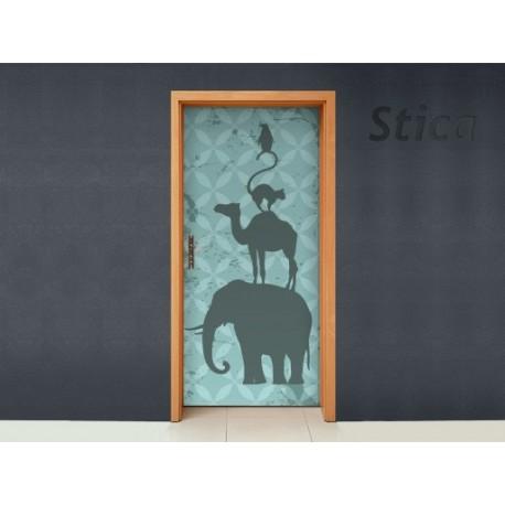 Puerta Animalitos Azul decoración con vinilo