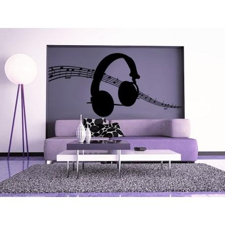 adhesivo decorativo Auriculares Música