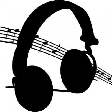 pegatina pared Auriculares Música