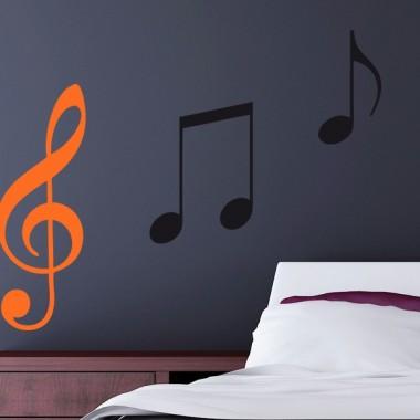 pegatina pared Clave de Sol Notas Musicales