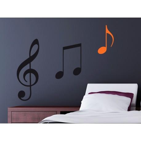 pegatina decorativa Negrita Notas Musicales