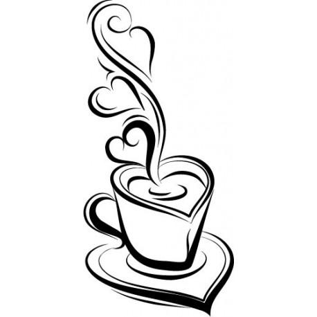 Café corazón imagen vinilo decorativo