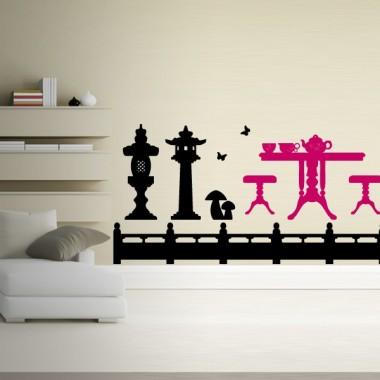 pegatina pared Mesita de Té Oriental