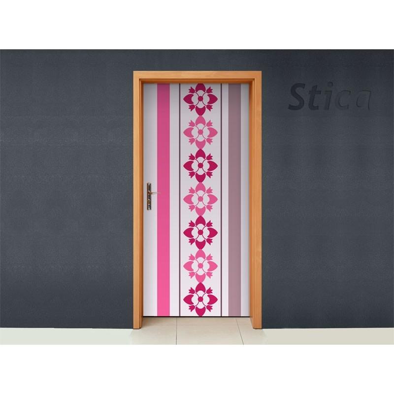 Vinilo rayas y flores para puerta - Vinilos decorativos para puertas de armarios ...