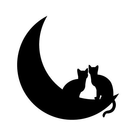 pegatina pared Gato en Luna II