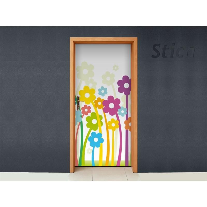Vinilo flores colores para puerta for Vinilos para armarios infantiles
