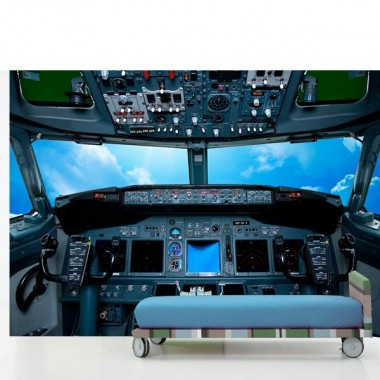 Fotomural Cabina Avión Nubes fotomural a medida