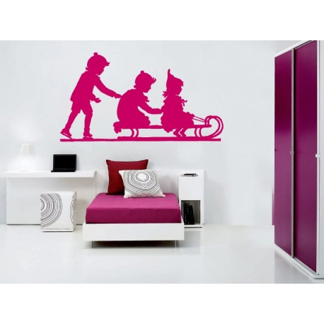 vinilo decorativo Niños Trineo