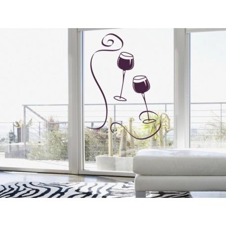 Vinilo Copas Vino adhesivo decorativo ambiente