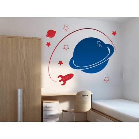 Saturno adhesivo decorativo ambiente
