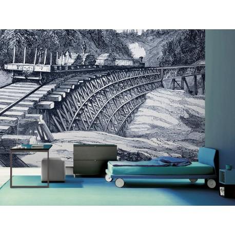 vinilo decorativo Fotomural Grabado Ferrocarril