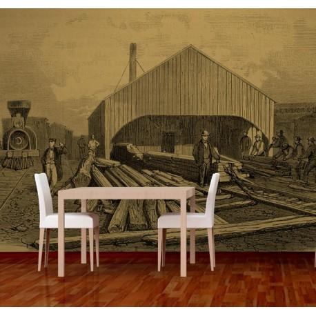 pegatina pared Fotomural Grabado Ferrocarril II