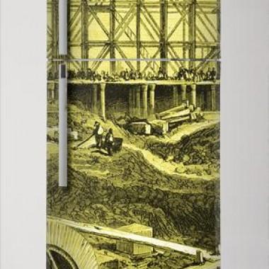 Fotomural Grabado Ferrocarril III decoración con vinilo