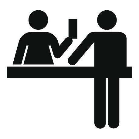 Símbolo Atención al Cliente adhesivo decorativo ambiente
