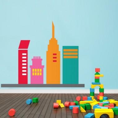 pegatina decorativa Infantil Coches Ciudad Edificios I
