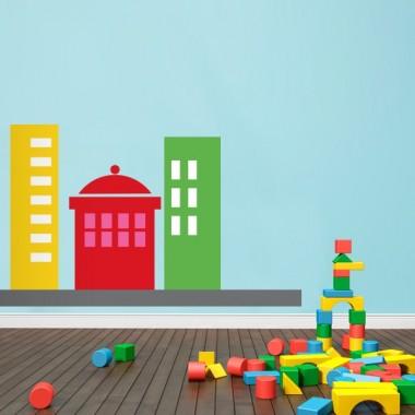 Infantil Coches Ciudad Edificios II imagen vinilo decorativo