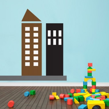 adhesivo decorativo Infantil Coches Ciudad Edificios IV