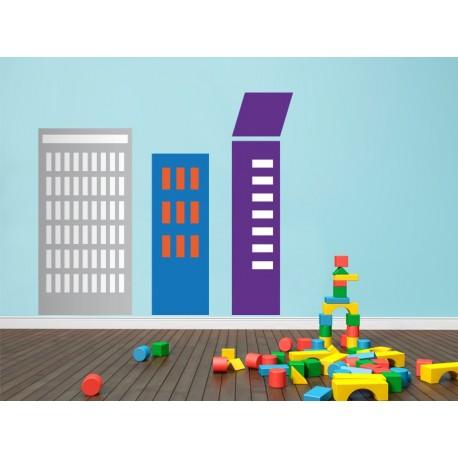Infantil Coches Ciudad Edificios V adhesivo decorativo ambiente