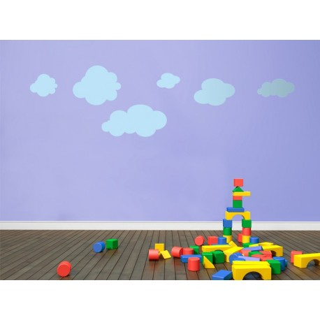 pegatina decorativa Infantil Coches Ciudad Nubes