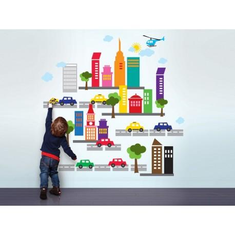 adhesivo decorativo Infantil Coches Ciudad Nubes