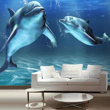 adhesivo decorativo Fotomural Delfines