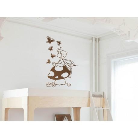 adhesivo decorativo Vinilo Infantil Duende Mariposas
