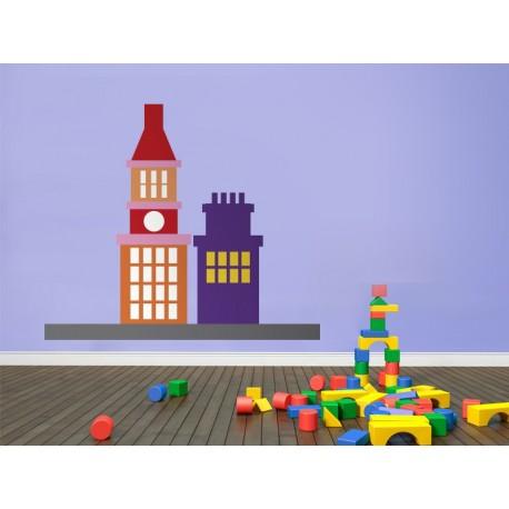 Infantil Coches Ciudad Edificios IV adhesivo decorativo ambiente