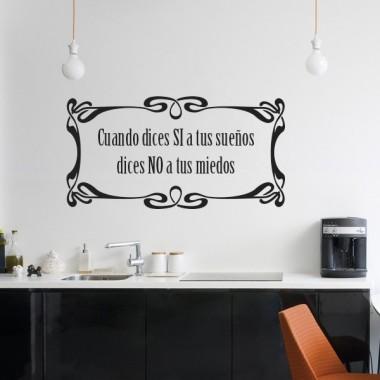 vinilo decorativo Vinilo Texto Sí a tus Sueños