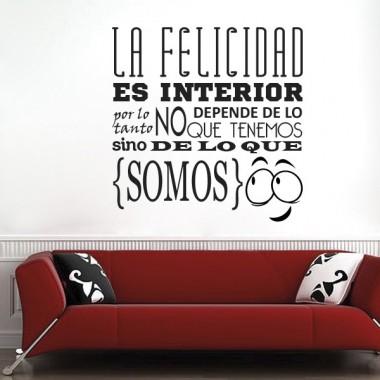 vinilo decorativo Frase sobre La Felicidad Vinilo