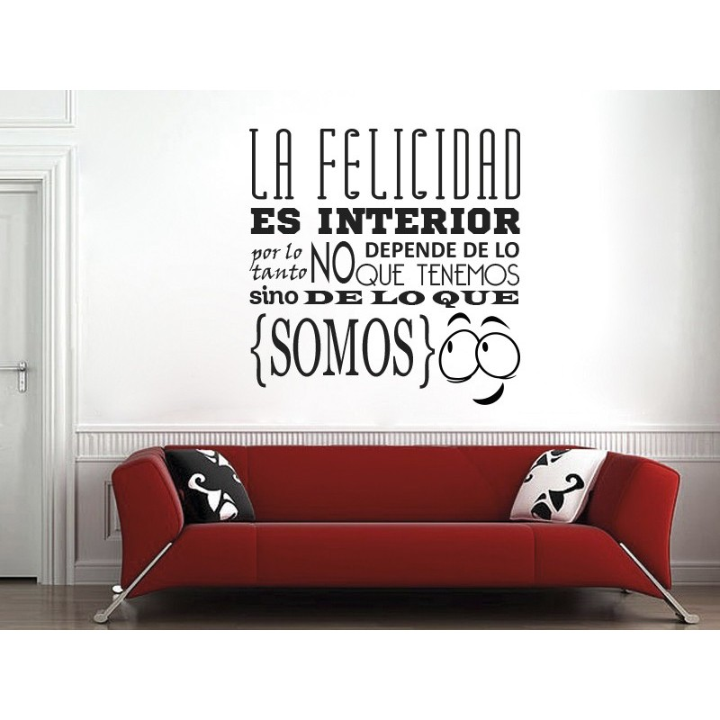 Frase sobre la felicidad vinilo for Vinilos decorativos sobre musica