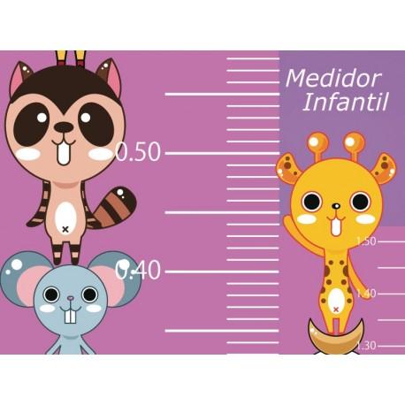 Medidor Animalitos Rosa adhesivo decorativo ambiente