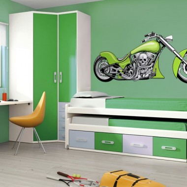 pegatina pared Moto Chopper