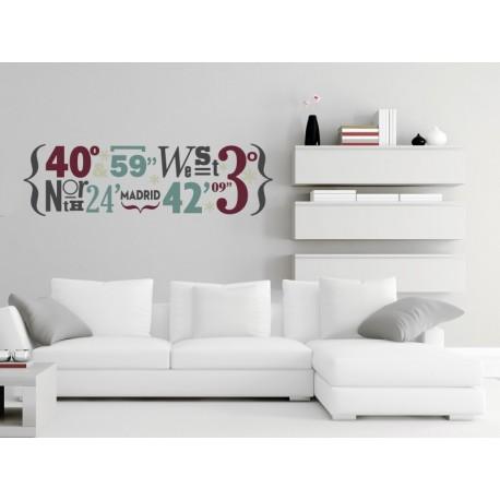 Madrid Coordenadas decoración con vinilo