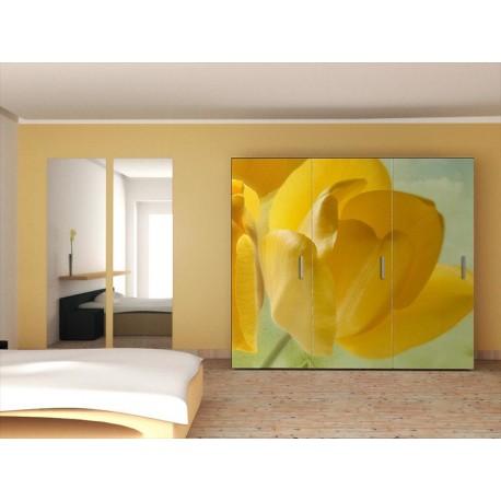 adhesivo decorativo Fotomural Tulipanes Amarillos