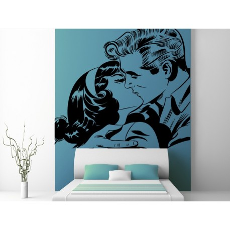 pegatina pared Beso Pin Up