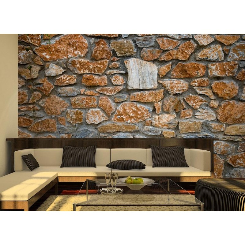 Fotomural muro piedras for Vinilo exterior pared