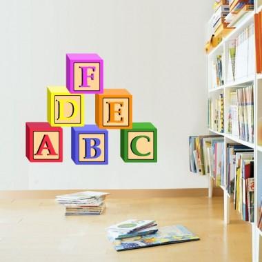 Aprende Letras Cubos adhesivo decorativo ambiente