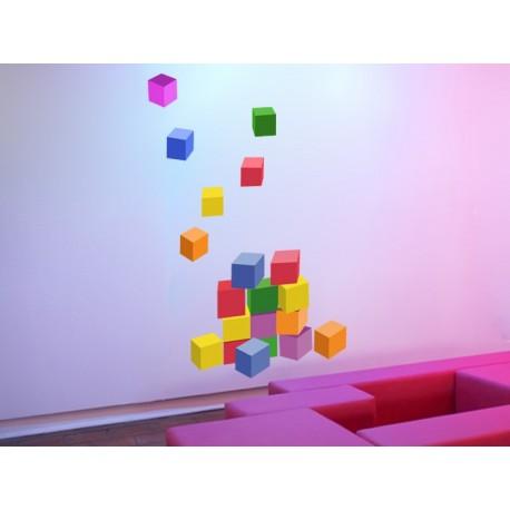 vinilo decorativo Cubos Construcción Colores