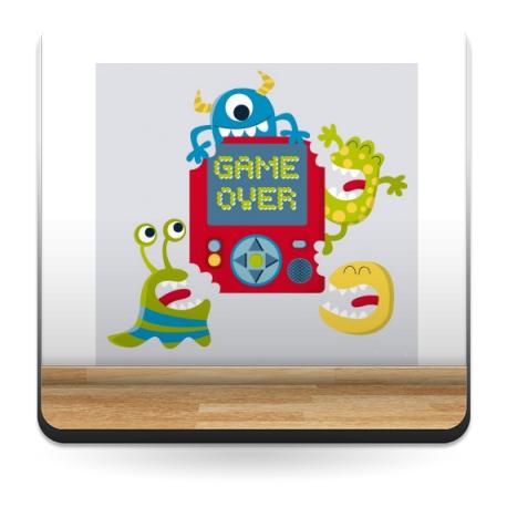 adhesivo decorativo Game Over Monsters